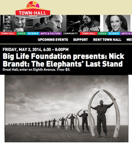 140424 1 1 Nick Brandt Talks About Big Life Foundation at Town Hall Seattle Friday May 2