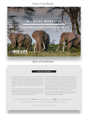191115 wildlife warrior elephant certificate holiday gift